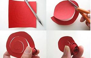 Розочка из цветной бумаги